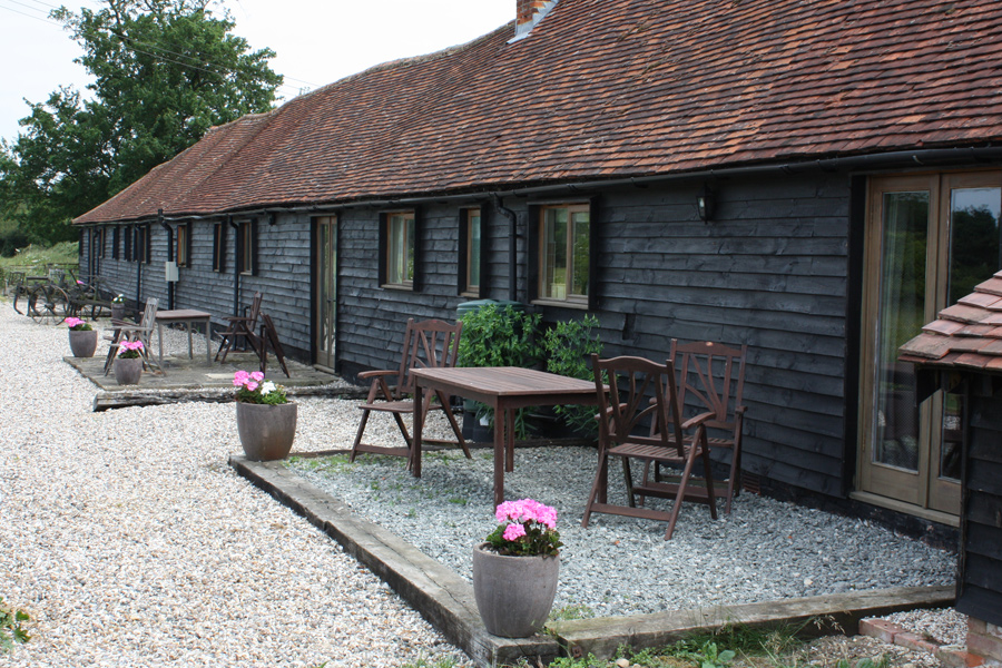 The large open patio area available at the back of each cottage enjoying panoramic views of the Essex countryside